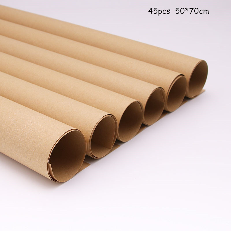 45pcs Kraft  Flowers Wrapping Paper 50*70cm Monochrome Bouquet Gift Packaging Material