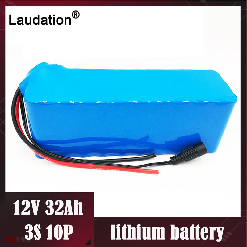 hot 12V Battery Pack with bms 32ah/32000mAh 3s 10p 18650 <font><b>Rechargeable</b></font> lithium Batteries pack For CCTV/Camera/<font><b>Light</b></font>/<font><b>LED</b></font> laudation image