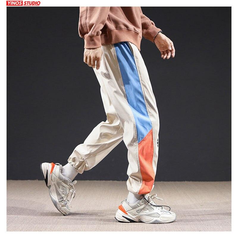 Dropshipping Autumn Male Patchwork Striped Toursers Men Streetwear Causal Pants Mens Japanese Joggers Leggings Pants