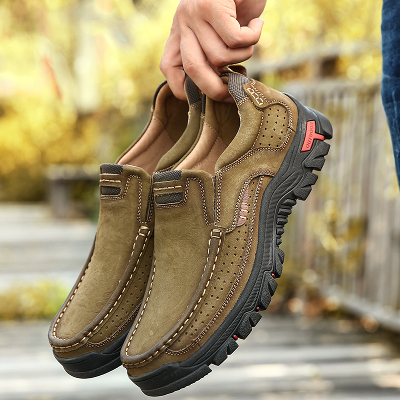Genuine Leather Hiking Shoes for Men Sneakers Big Size Waterproof Nonslip Mens Shoes Breathable Comfortable Sports Hunting Boots image