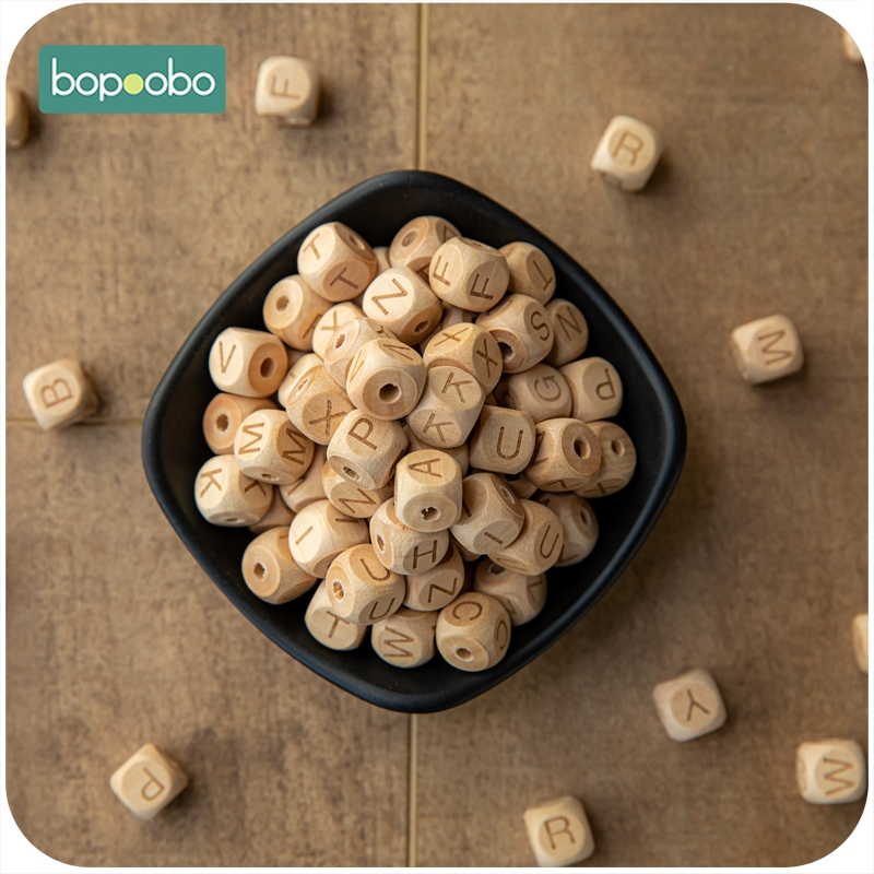 Bopoobo 12mm 10pc Baby Nursing Accessories Square Shape Chew Beech Letter Beads DIY Teething Jewelry Alphabe Baby Teether