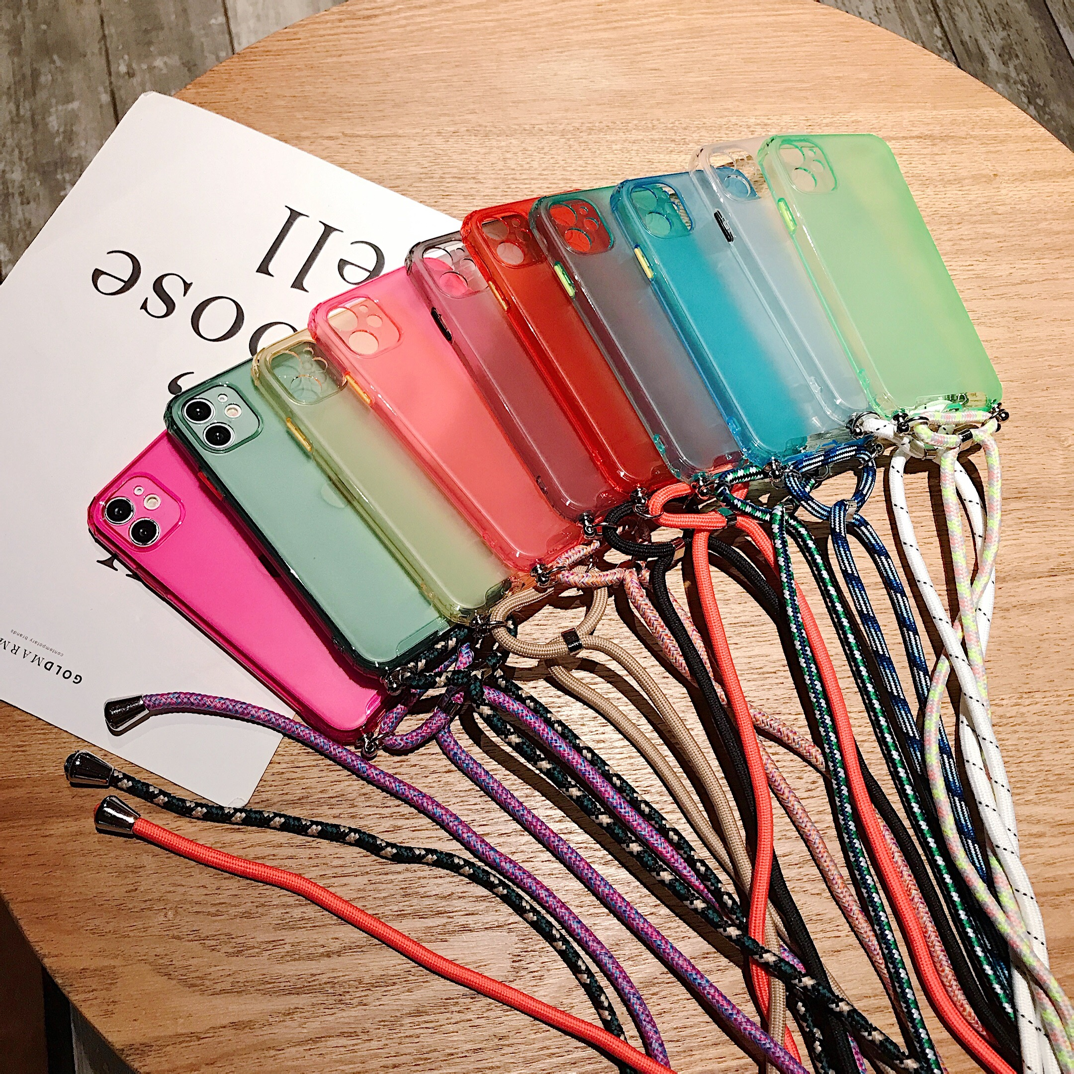 Lanyard Chain Phone Case for iPhone 11Pro 7 8 6 6S Plus XR XS Max X Candy color Ribbon Lanyard Chain Hanging Case for iPhone 11