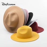 Autumn Winter Modern stylish Fashion wool Wide Jazz Shopping Tourist Style Felt Fedoras Hats for Women