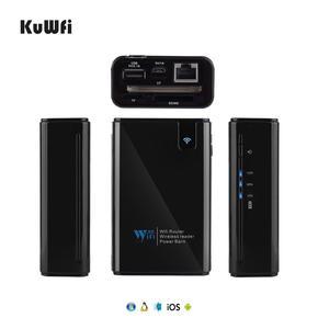 Image 2 - Wifi roteador 6000mah power bank wifi repetidor com porta rj45 & leitor de cartão sem fio usb hub função rede armazenamento externo