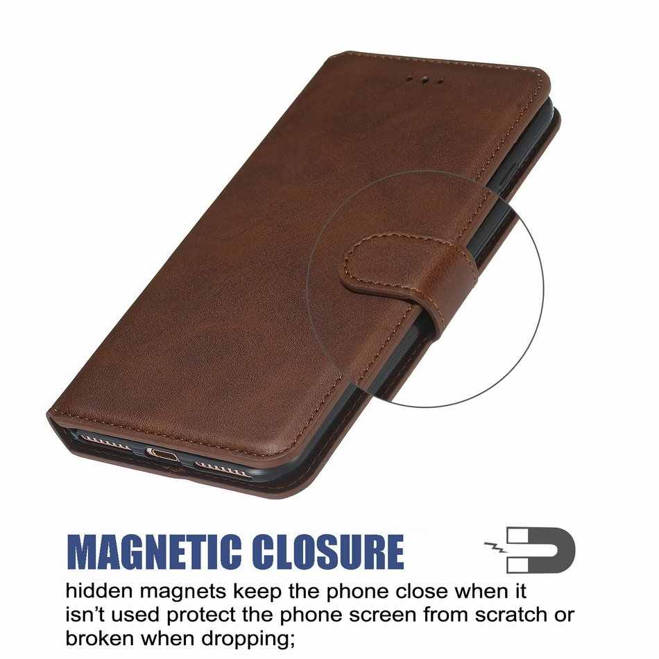 Etui na telefon z klapką do portfela apple iPhone 5 5S SE 6 6S 7 8 Plus 8 P jednokolorowe luksusowe skórzane etui na telefon z klapką Capa O27D