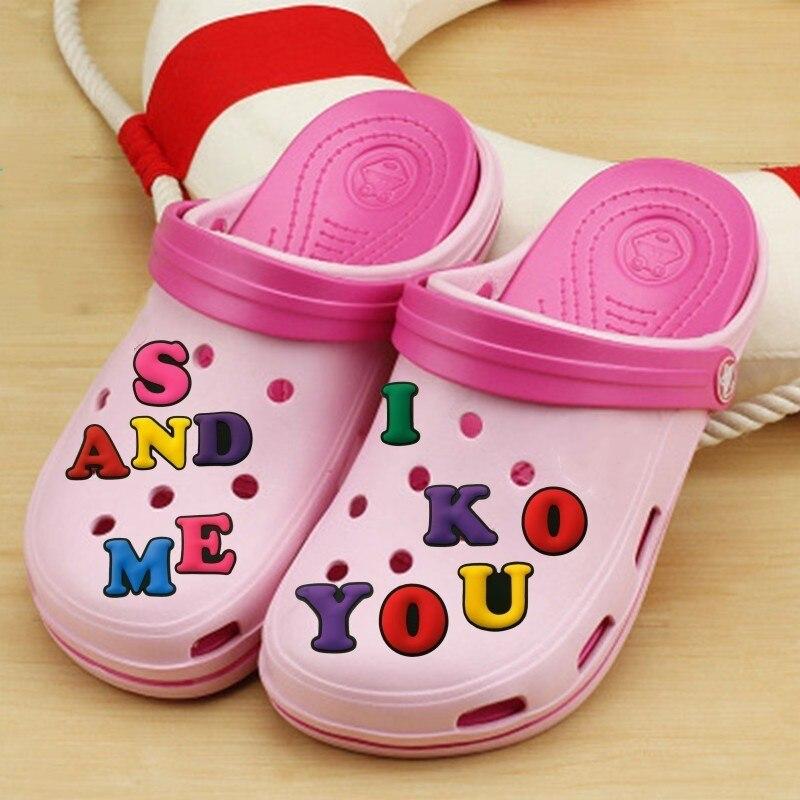 1pcs Capital Letter PVC Shoe Charms Decoration 26 English Letters Shoes Accessories Shoes Buckles Croc JIBZ Kids Best Gift