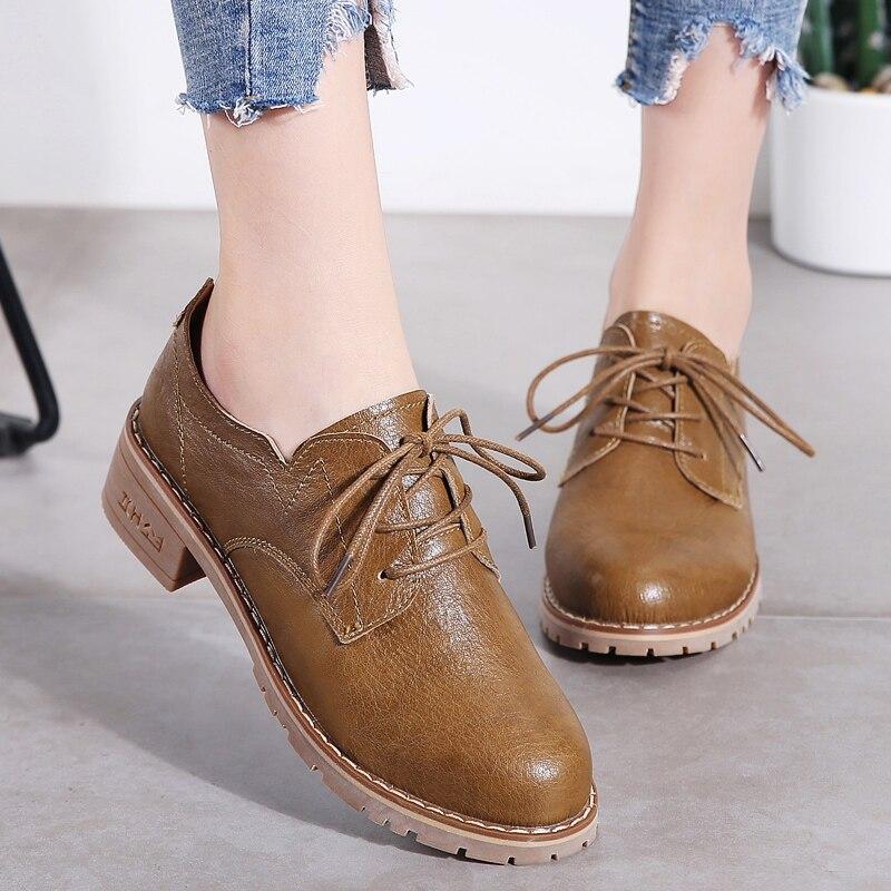 Image 4 - STQ/женские туфли оксфорды на плоской подошве; женские лоферы из натуральной кожи; женские кроссовки на шнуровке; женская зимняя обувь; LSJ1208Обувь без каблука   -