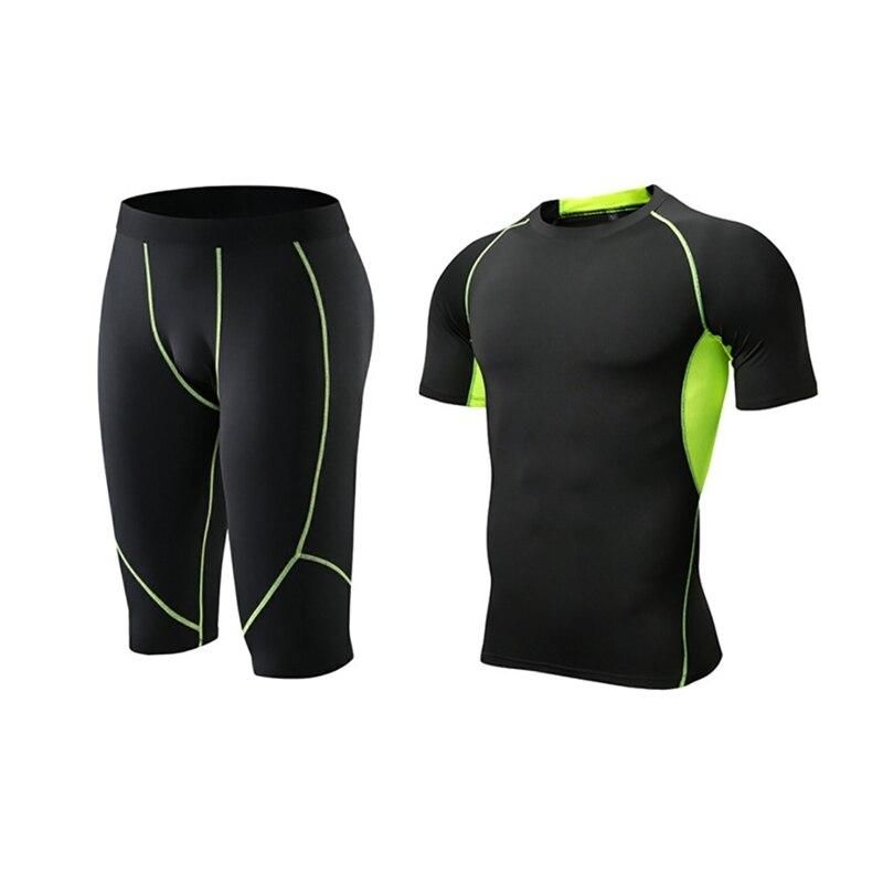 Мужская эластичная футболка для фитнеса, быстросохнущие топы, короткие штаны, спортивные лосины, костюм, майки, базовый слой, спортивная одежда, колготки, брюки - Цвет: G