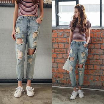 цена на Ripped jeans loose jeans bf Korean style beat-down Pants new summer style high-waisted skinny beggar pants