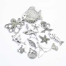 Multiple Sizes Ancient Silver Metal Beads Ocean Series Charms Pendant DIY Jewelry Accessories Alloy M307