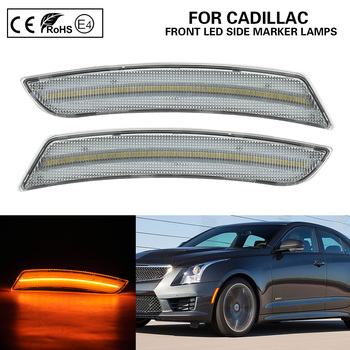 2Pcs Clear Lens Front Bumper Amber LED Side Marker Light for Cadillac ATS CTS CTS-V 15-19 image