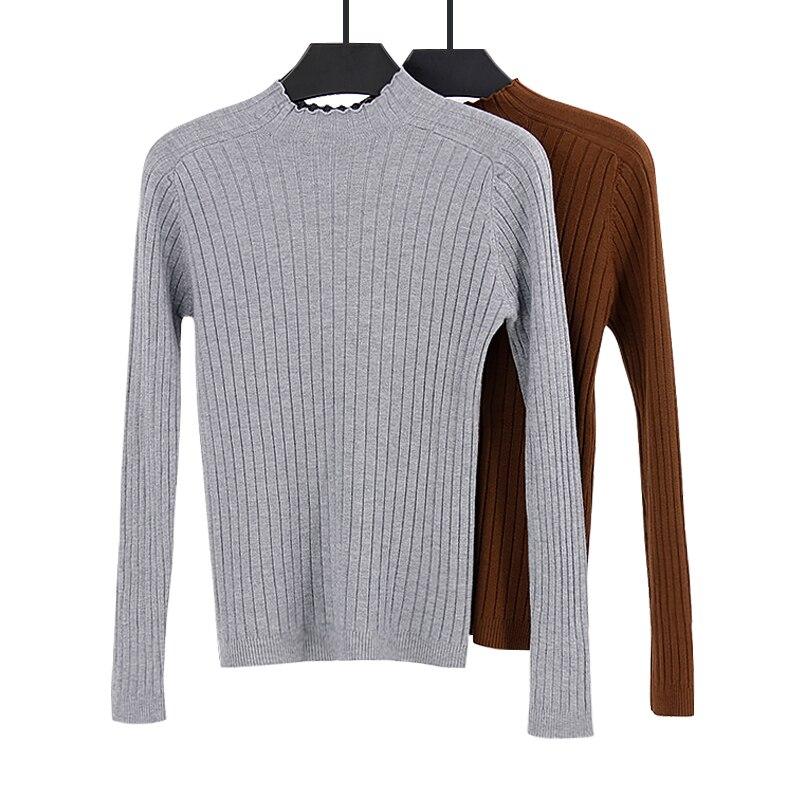 Новинка 2019, женский свитер с высоким воротом, пуловер, серый, коричневый, вязаный, тонкий свитер, топы, зимний Повседневный свитер, джемпер|Водолазки|   | АлиЭкспресс