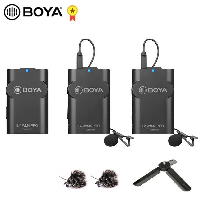 BOYA BY WM4 Pro K2 K1 Phone Wireless Lav Microphone Video Audio Lavalier Mic for DSLR Camera DV Smartphone Vlog Live Streaming