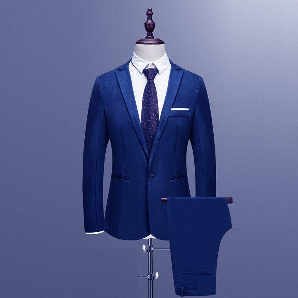 2021 Новый Для мужчин тонкий кнопка костюм Однотонная Одежда Платье Блейзер шоу с ведущими, куртка и штаны, спортивный костюм Для мужчин s дело...