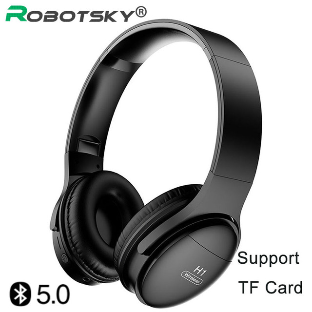 H1 auriculares inalámbricos con Bluetooth V5.0, auriculares estéreo HIFI HD con reducción de ruido y ranura para tarjeta TF para teléfonos IOS y Android