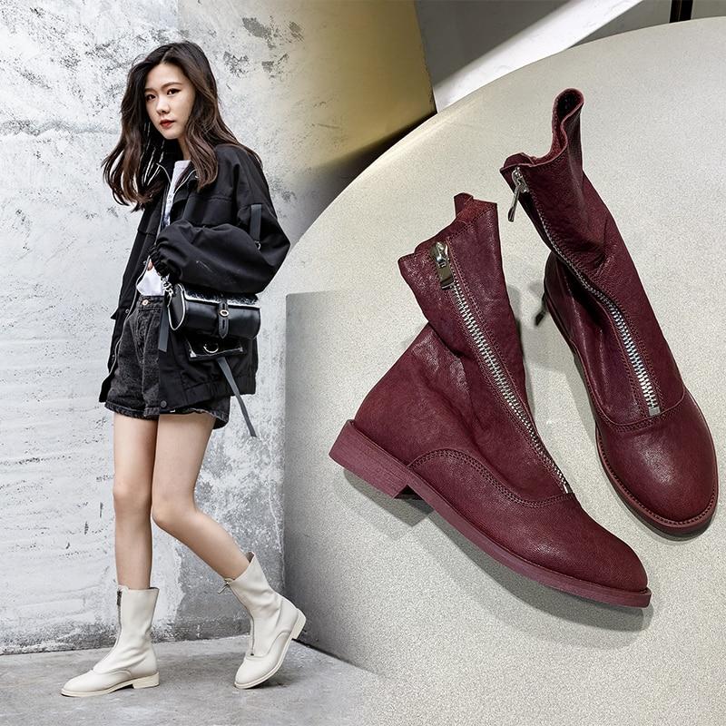 INS/популярные женские ботильоны; Однотонные ботинки из овечьей кожи; Очень мягкие ботинки; Длина 22 24,5 см; Женские ботинки в западном стиле|Полусапожки|   | АлиЭкспресс