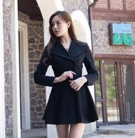 Vintage Autumn Winter Women Hepburn Woolen Coat Double Breasted Rockabilly Pinup Black Swing Jacket Ropa Mujer