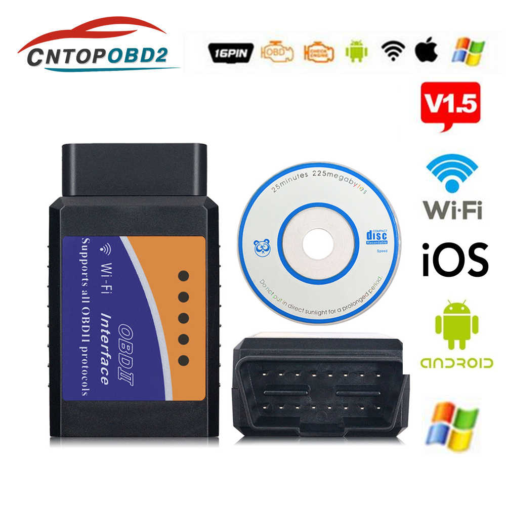 Latest OBD2 Wifi ELM327 V1.5 Automotive Scanner Bluetooth ELM327 V2.1 Car Diagnostic Tool For Android/IOS/Symbian OBDII Protocol