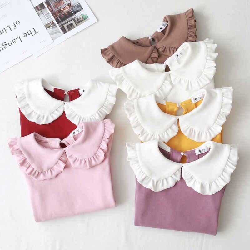2020 primavera autunno nuove ragazze camicie T-shirt per bambini risvolto pizzo moda Casual camicia bianca colletto per bambole abbigliamento per bambini