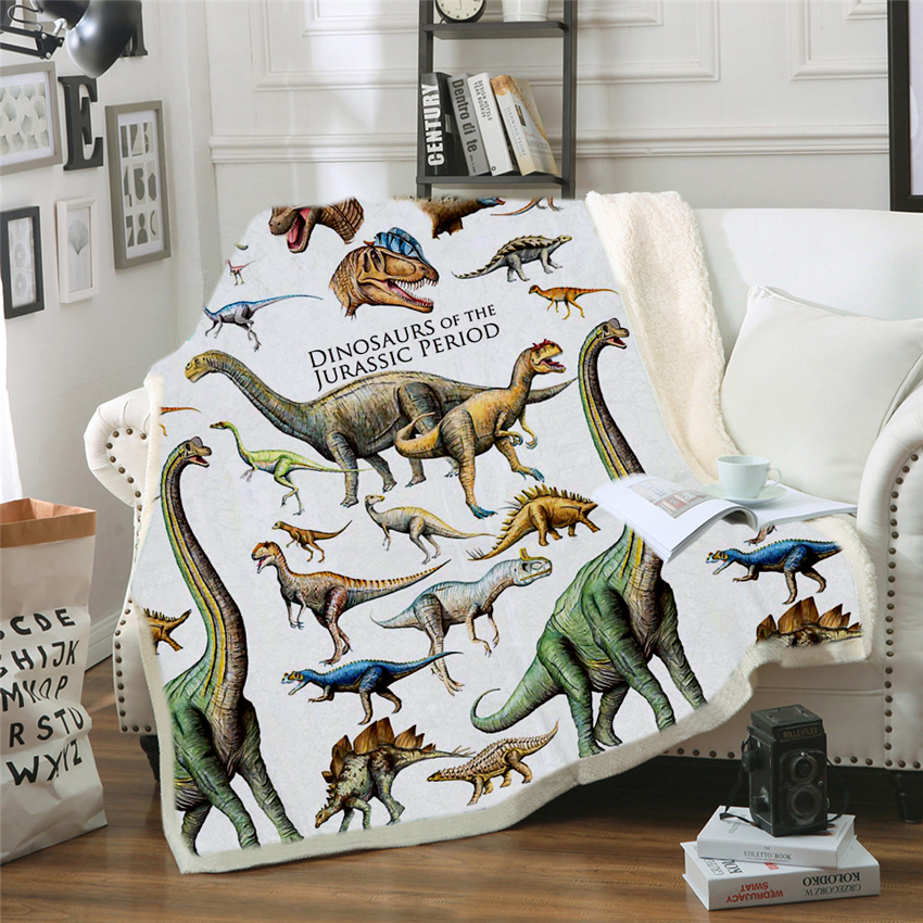 Dinosaur Blanket Bedding Sheet Sofa Cover Throw Nap Blanket As Mat Travel Picnic Home For Adults Kids On Bed Crib Plane Cobertor