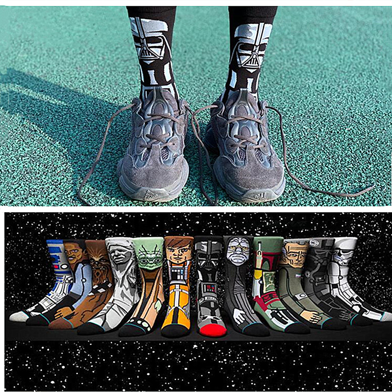 Men's Socks Star Wars Jedi Masters Yoda C-3PO Cartoon Unisex Long Socks Funny Cosplay 3D Stereo Style Socks for Men Gift Socks