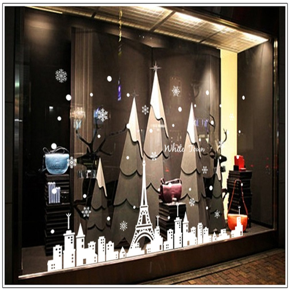 Creative Household Items White Tower Town Christmas Snowflakes Window Glazing