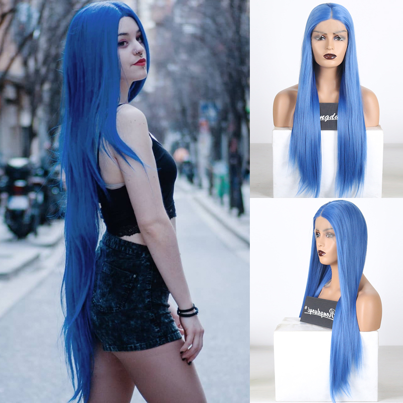 RONGDUOYI Long Silky Straight Hair Wigs Synthetic Lace Front Wig Middle Part Blue Hair Lace Wigs For Women Half Hand Cosplay Wig