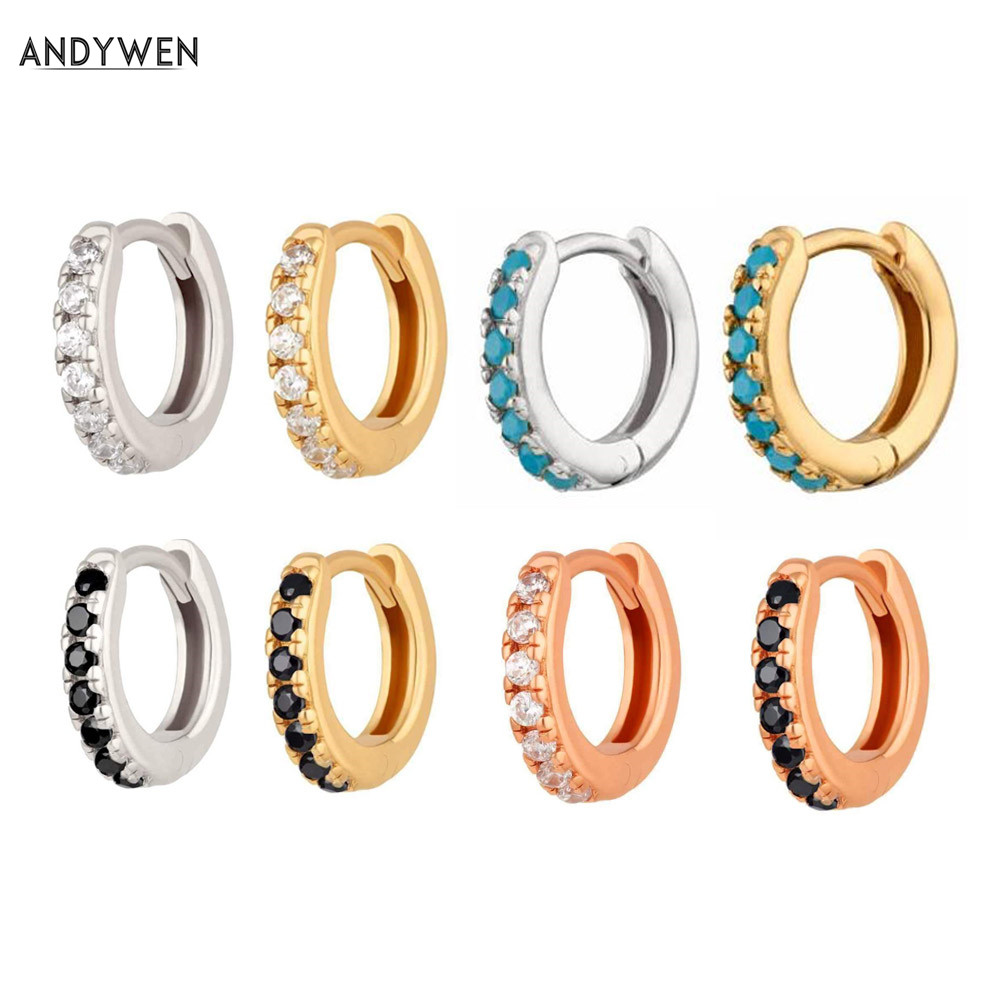 ANDYWEN 925 Sterling Silver Colorful Mini Hoops Huggies Loops Clips Earring For 2019 Rock Punk Women Jewelry Accessory Making