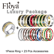 Floya Stainless Steel Ring Set Gold Band Multicolor Stackable Rings Filled Combination Finger Wedding