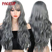 Pageup Peluca de pelo largo ondulado para mujer, cabello sintético con flequillo, resistente al calor, color negro, azul, Rubio, Rosa, Verde, gris