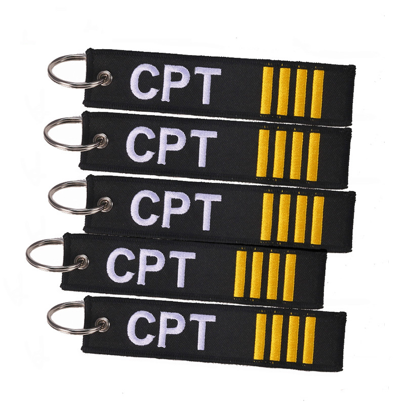 5 PCS/LOT Captain Keychain Jewelry Embroidery CPT Key Ring Chain For Aviation Gifts Zip Puller Remove Before Flight Keychains