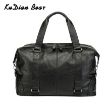 KUDIAN BEAR PU Leather Men Travel Bag Waterprof Handbag Black Fashion Luggage Bags Multi-function Large Men's Bags BIG039 PM49