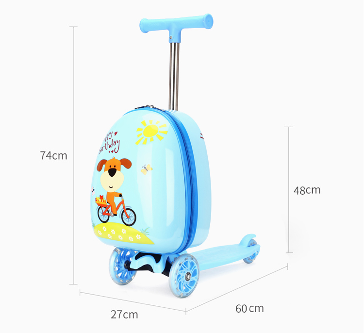 Travel Suitcase On Wheels Child Scooter Suitcase Skateboard Trolley Case Lazy Luggage Bag For Kids Cartoon Rolling Luggage Box