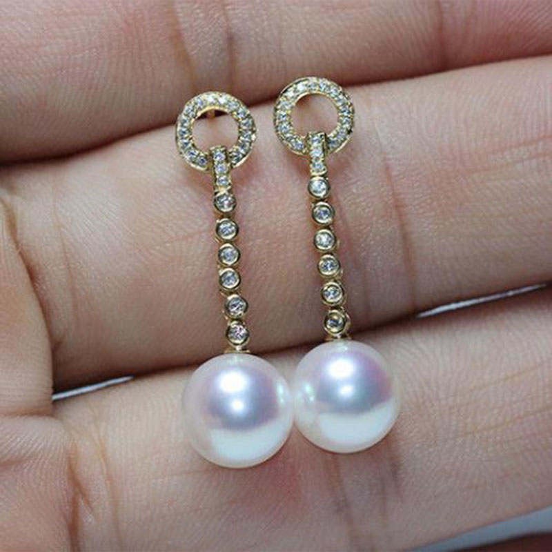 gorgeous 18k pair of 10-11 south sea round white pearl dangle earring