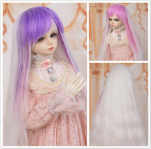 Muziwig SD bjd doll wig Pink mini blue doll hair in the gradient 1/3 1/4 1/6 giant baby size bjd diy accessories цена 2017