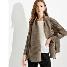 2021 Autumn New Top Long Sleeve Pleated Temperament Women's Lapel Solid Color Coat Female Plus Size Outwear Coats E170