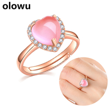 olowu Natural Stone Pink Color Ross Quartz Love Ring Lovers Gift Heart Rings Rose Gold Cubic Zirconia Crystal Adjustable