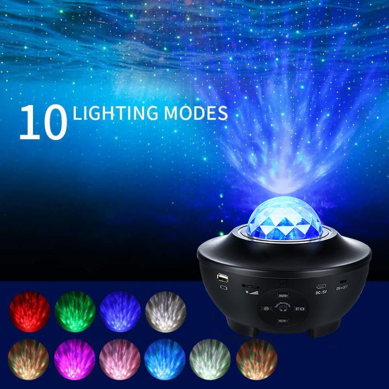 Muziek Sterrenhemel Projector Light Sky Galaxy Bluetooth Usb Opladen Muziek Star Led Night Light Romantische Decoratie Projectie Lamp