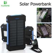 FLOVEME Portable Solar Waterproof Power Bank LED Light 2 USB