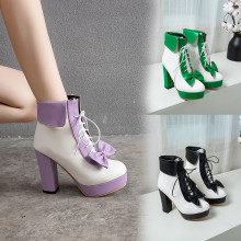 YMECHIC Fashion 2019 Winter Lolita Shoes Lace Up High Heels Platforms Cute Bow Sweet Pink Purple Green Yellow Ankle Boots Women