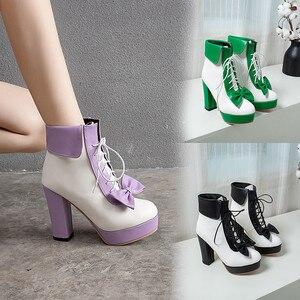 Image 1 - YMECHIC Moda 2019 Kış Lolita Ayakkabı Lace Up Yüksek Topuklu Platformlar Sevimli Yay Tatlı Pembe Mor Yeşil Sarı yarım çizmeler Kadın