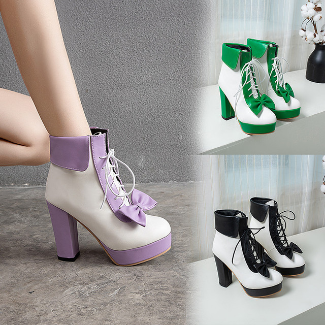 YMECHIC Moda 2019 Kış Lolita Ayakkabı Lace Up Yüksek Topuklu Platformlar Sevimli Yay Tatlı Pembe Mor Yeşil Sarı yarım çizmeler Kadın