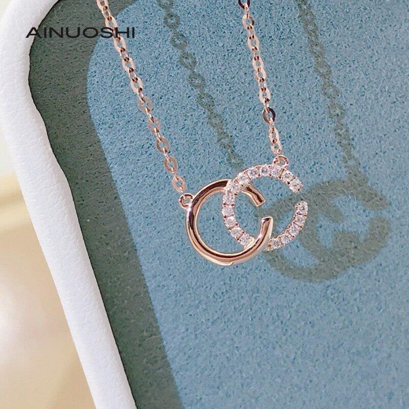AINUOSHI Handmade 18K Gold 0.06ct Real Diamond Letter CC Name Geometric Necklace...