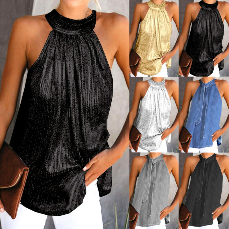 Women's Summer Sleeveless Vest Halter Neck Tanks Tunic  Ladies Plus Size S-XL Loose Tops  Tees