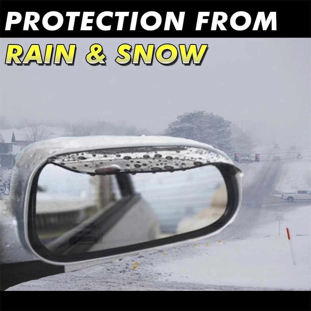 2Pcs Auto Achteruitkijkspiegel Regen Wenkbrauw Universele Sneeuw Guard Zonneklep Shadow Protector Siliconen Anti-Kras Regen Wenkbrauw # LR3