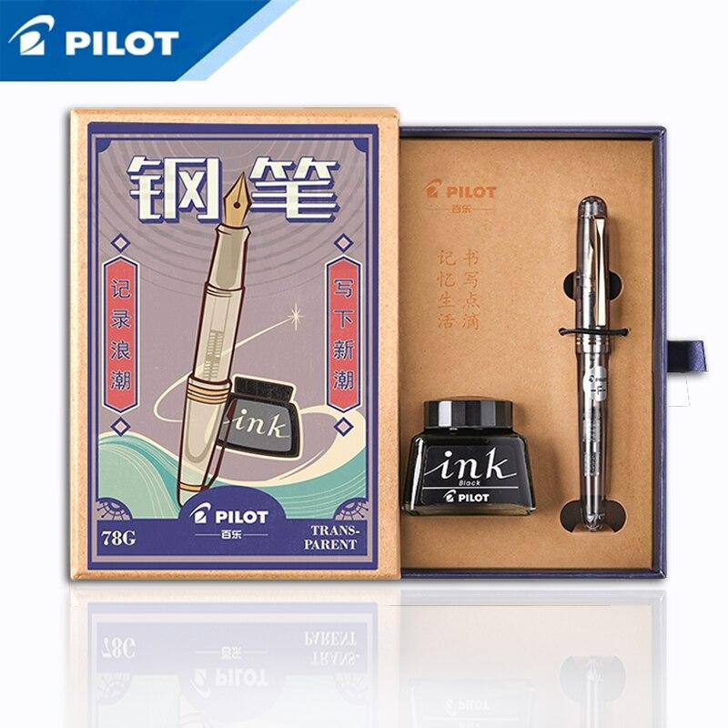 PILOT 78g 78g+ 22k Golden Original Iridium Fountain Pen Students Practice Calligraphy Ef F M Nib Ink Cartridge Con50 Converter