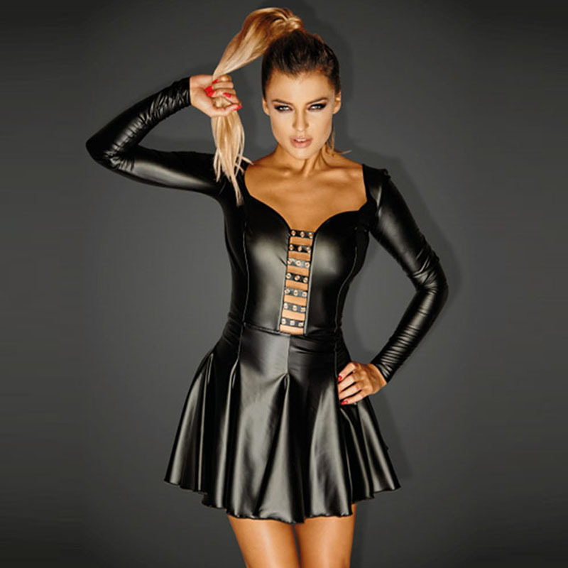 Women Clothing <font><b>Sexy</b></font> Steampunk Wetlook Leather <font><b>Corset</b></font> Dress With Rocky Eyeletes Black Long Sleeve Night <font><b>Corsets</b></font> Overbust 2XL <font><b>XXXL</b></font> image