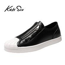 Buy KATESEN New Men Shoes Student Shoes Men Casual Shoes Breathable Youth Trend Wear-resistant Rubber Sole Leather Casual Shoes directly from merchant!