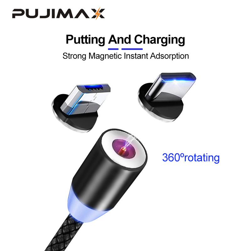PUJIMAX 1M 3 IN 1 Magnetic Cable USB Type C Cable & Micro USB Cable Nylon Braided LED Indicator charging Magnet Charger Cable