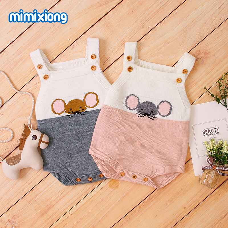 Baby Bodysuits One Pieces Newborn Infant Boys Girls Jumpsuits Outfits Spring Autumn Sleeveless Toddler Knitted Children Clothing